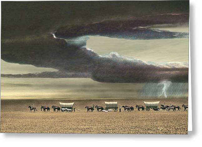 Wagon Train Greeting Card by Walter Colvin