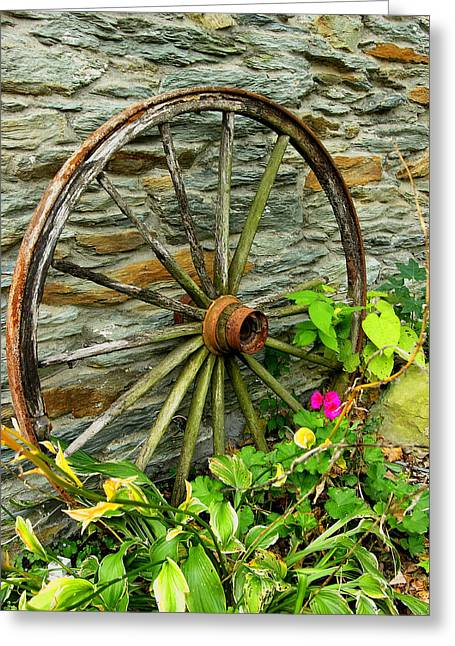 Wagon Wheel And Stone Wall Greeting Card by Steven Ainsworth