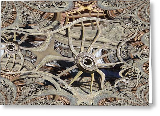Wagon Wheel Fractal Greeting Card