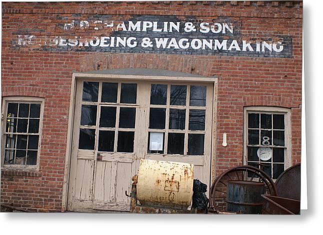 Wagonmaking Greeting Card by Margaret Steinmeyer