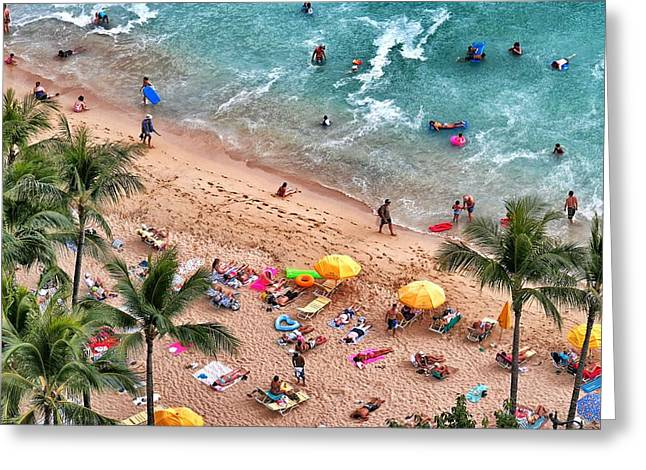 Waikiki Beach Aerial 1 Greeting Card