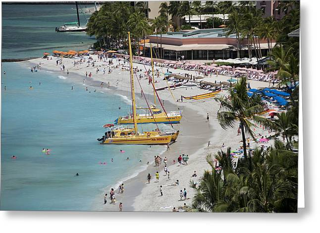 Waikiki Beach And Catamarans Greeting Card by Peter French
