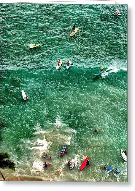 Greeting Card featuring the photograph Waikiki Surfing by Jim Albritton