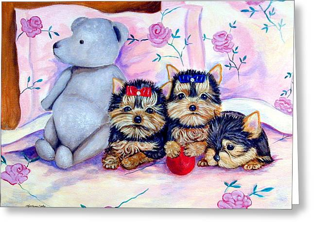 Waiting For Mom - Yorkshire Terrier Greeting Card