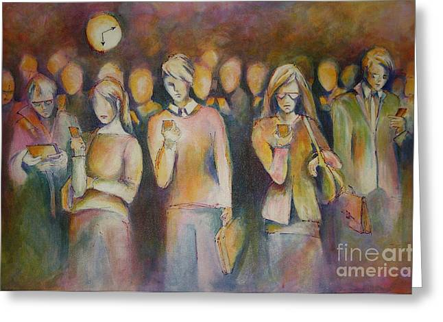 Waiting For The 6 15 Train Greeting Card by Sandra Taylor-Hedges