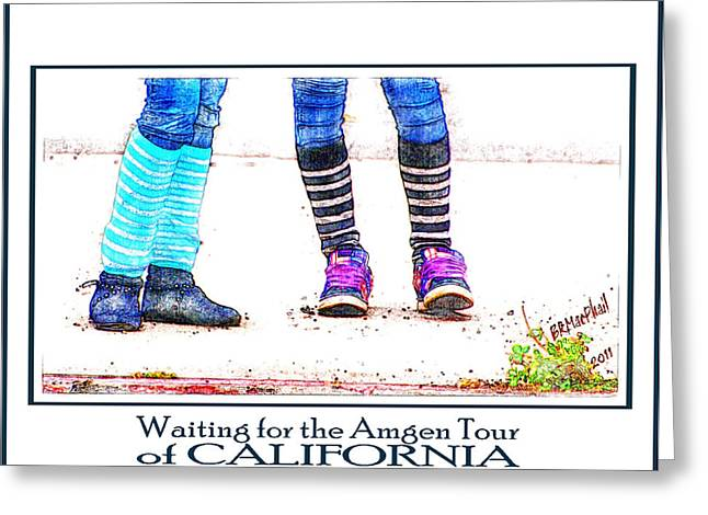 Waiting For The Amgen Tour Of California Greeting Card by Barbara MacPhail