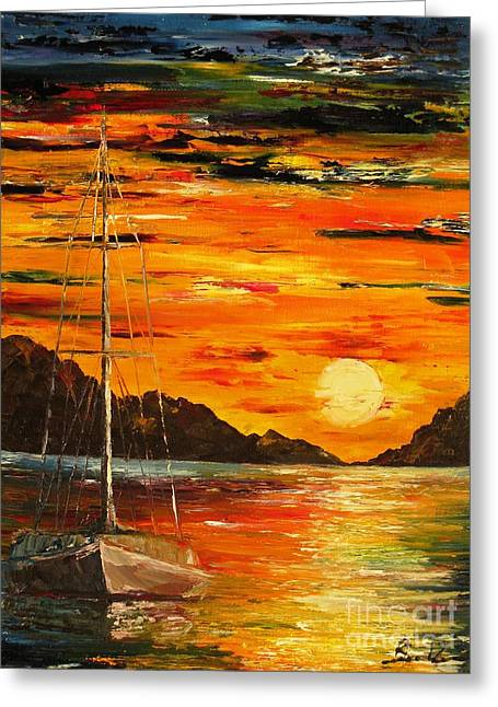 Waiting For The Sunrise Greeting Card by AmaS Art