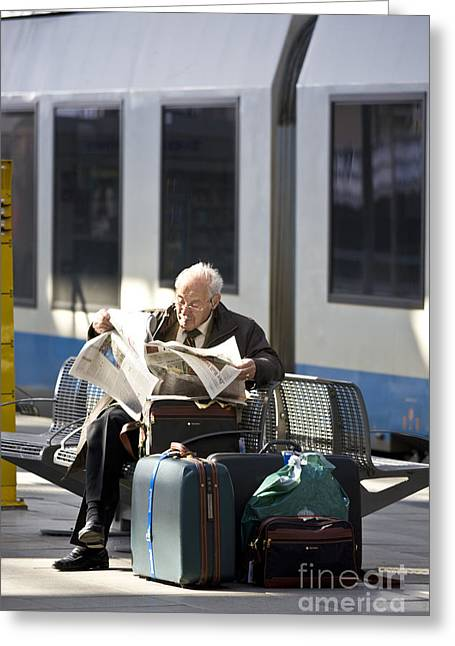 Waiting For The Train Greeting Card by Heiko Koehrer-Wagner