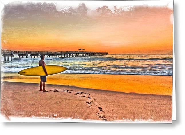 Waiting For Waves Greeting Card by Debra and Dave Vanderlaan