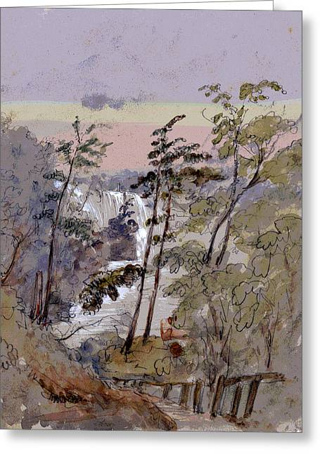 Walk To The Falls Greeting Card by Charles Shoup