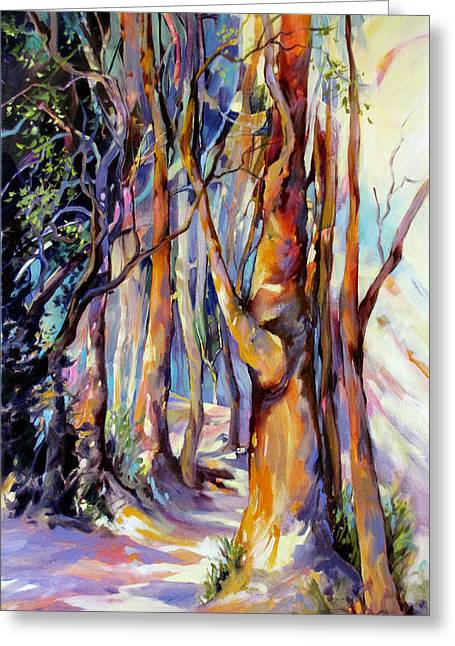 Greeting Card featuring the painting Walk With Me by Rae Andrews
