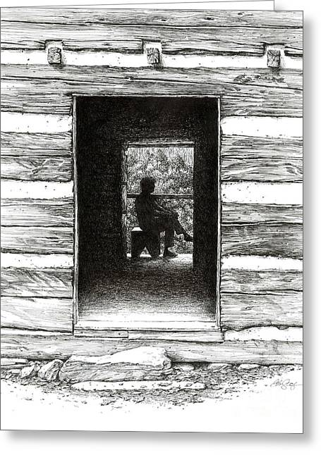 Greeting Card featuring the drawing Walker Sisters' Cabin Door by Bob  George