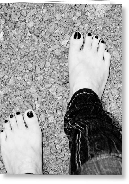 Greeting Card featuring the photograph Walking Barefoot by Ester  Rogers