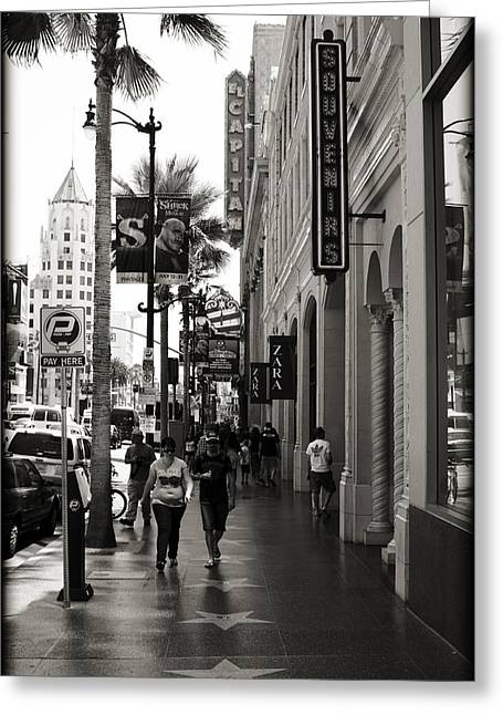 Walking In La Greeting Card by Ricky Barnard