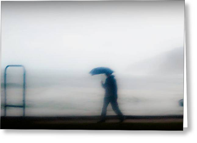 Walking In The Rain Greeting Card by Christoph Mueller
