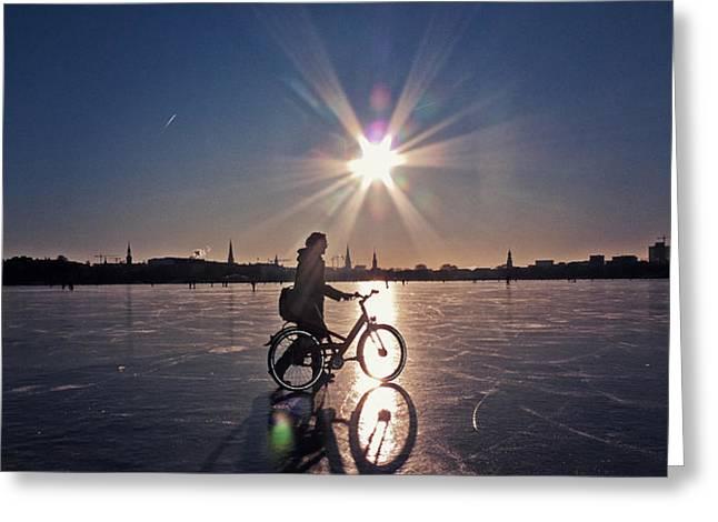 Walking On Ice Greeting Card by Benjamin Matthijs
