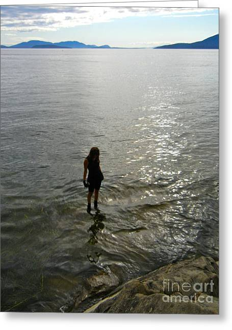 Walking On The Tide Greeting Card
