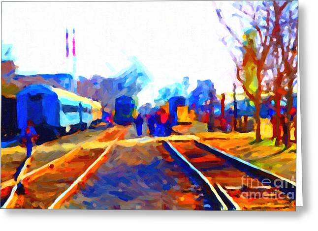 Walking On The Train Tracks In Old Sacramento California . Painterly . Vision 2 Greeting Card by Wingsdomain Art and Photography