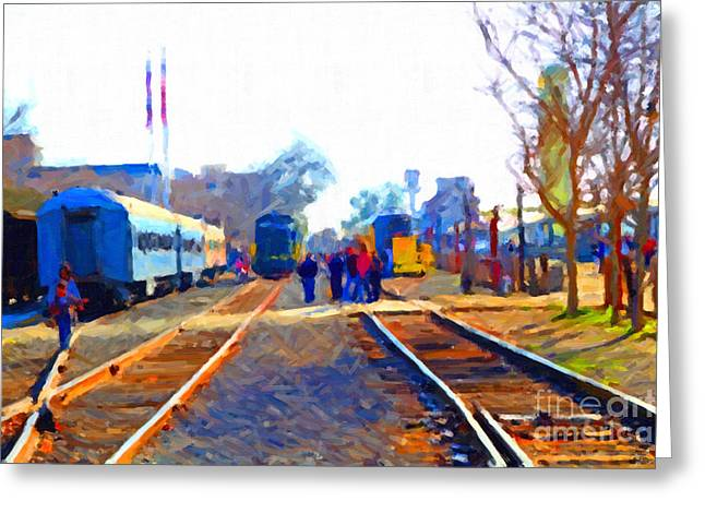 Walking On The Train Tracks In Old Sacramento California . Painterly Greeting Card by Wingsdomain Art and Photography