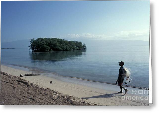 Greeting Card featuring the photograph Walking The Beach At Dawn Barahona Dominican Republic by John  Mitchell