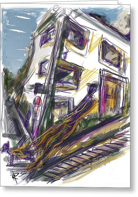 Walking The Dog On Dolores Street Greeting Card by Russell Pierce