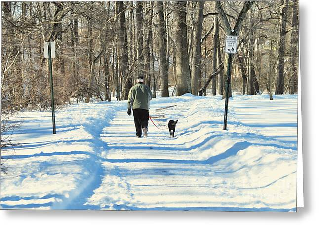 Walking The Dog Greeting Card by Paul Ward
