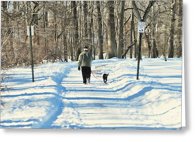 Walking The Dog Greeting Card