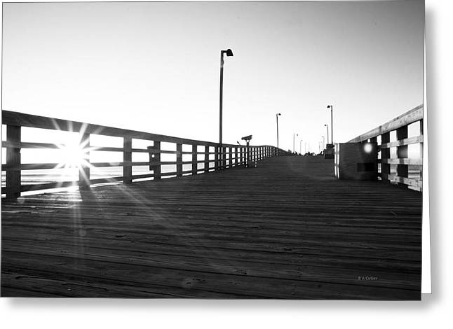 Walking The Planks Sunrise Greeting Card by Betsy Knapp