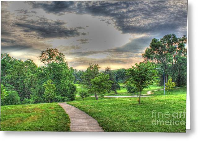 Walkway In A Park Greeting Card