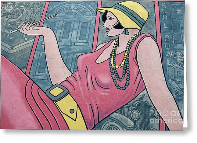 Wall Art Flapper Greeting Card by Bob Christopher