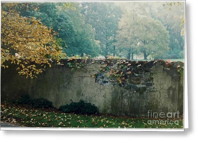 Wall In Fall Greeting Card by Maxine Bochnia