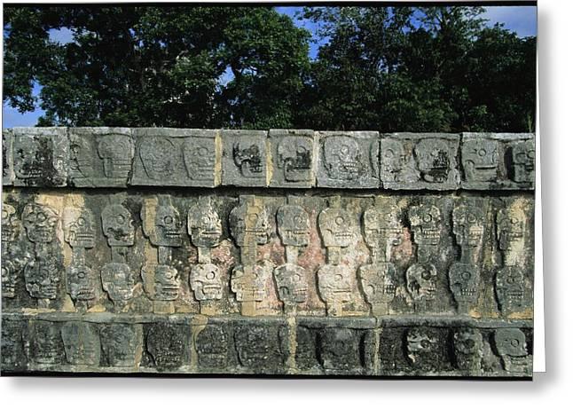 Wall Of Skulls Known As Tzompantli Greeting Card