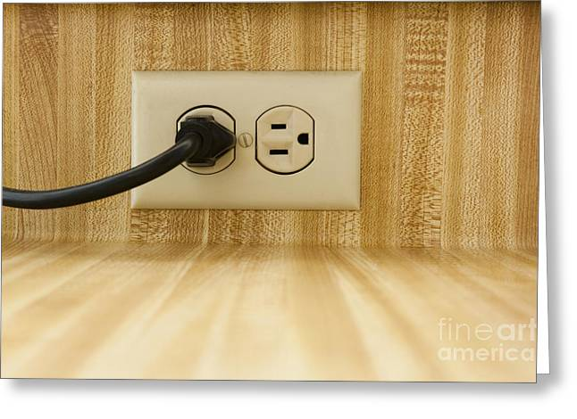 Wall Socket With Power Cable Greeting Card