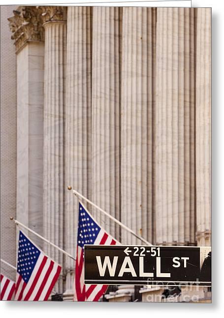 Wall Street Columns Greeting Card by Brian Jannsen