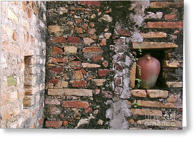 Wall With Vessel Greeting Card by Laurel Fredericks