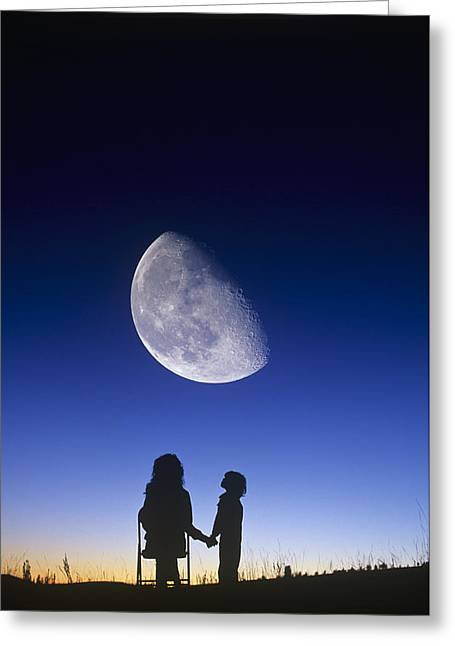 Waning Gibbous Moon Greeting Card by David Nunuk