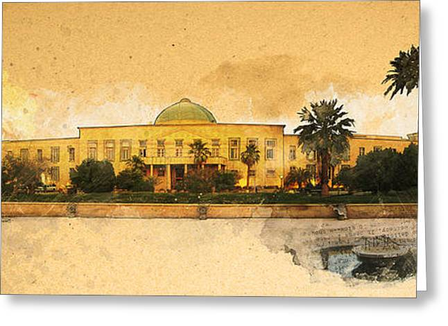 War In Iraq Sadaam's Palace Greeting Card by Jeff Steed