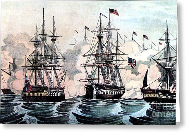 War Of 1812, American Victory At Lake Greeting Card by Photo Researchers