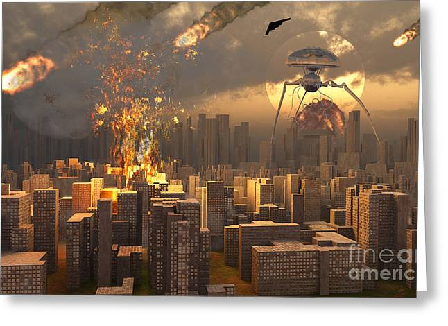 War Of The Worlds Greeting Card by Mark Stevenson