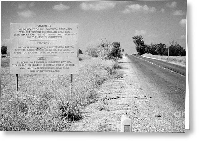 warning road sign warning of the border of the turkish military controlled area of the SBA Sovereign Greeting Card by Joe Fox