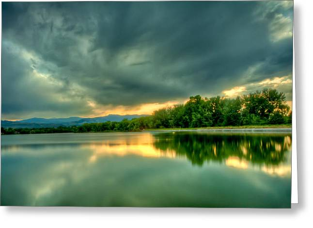 Warren Lake At Sunset Greeting Card by Anthony Doudt