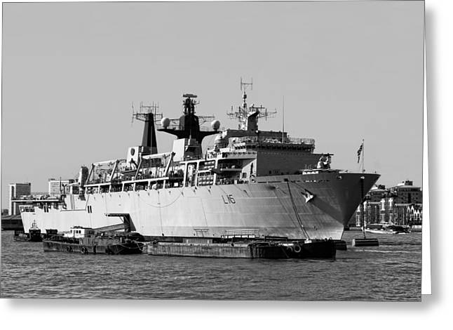 Warship Hms Bulwark Greeting Card