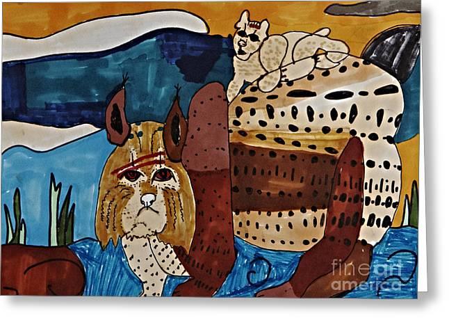 Wary Bobcat Greeting Card by Stephanie Ward