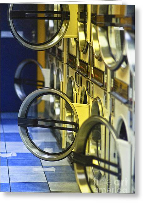 Washers And Dryers In Public Laundromat Greeting Card by Eddy Joaquim