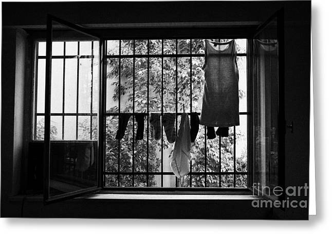 Washing Hanging Off Security Cage In An Apartment In Buenos Aires Greeting Card by Joe Fox