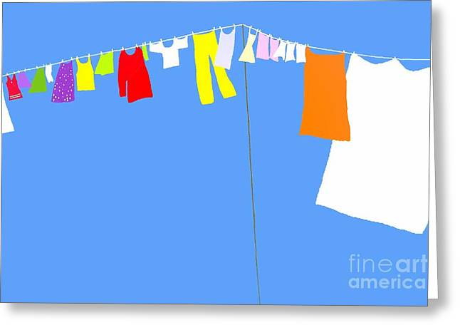 Greeting Card featuring the digital art Washing Line Simplified Edition by Barbara Moignard