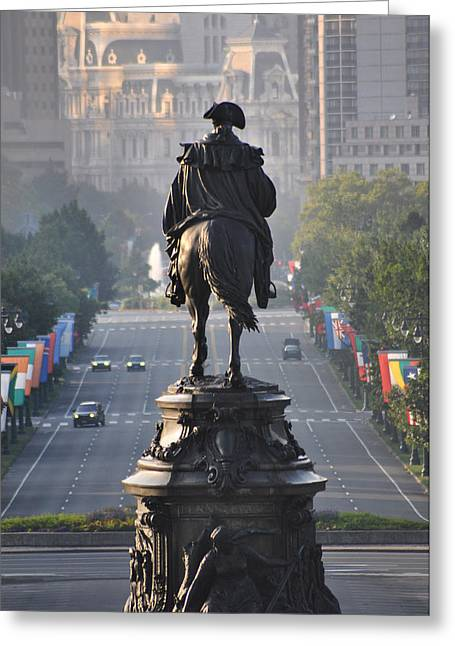 Washington Looking Down The Parkway - Philadelphia Greeting Card