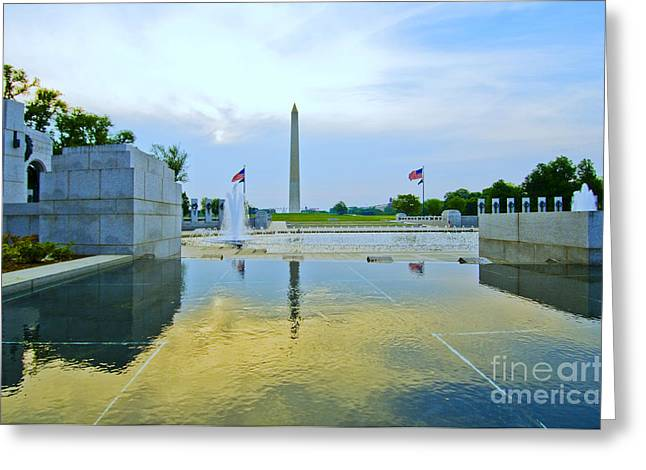 Greeting Card featuring the photograph Washington Monument And The World War II Memorial by Jim Moore
