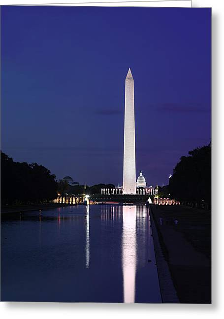 Greeting Card featuring the photograph Washington Monument At Sunset by Metro DC Photography