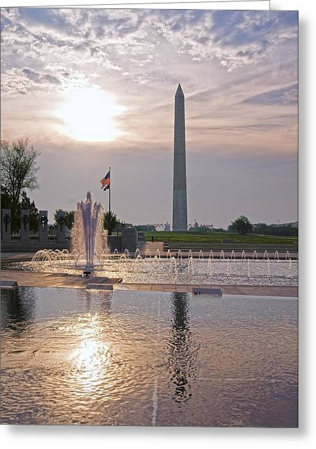 Greeting Card featuring the photograph Washington Monument From The World War II Memorial by Jim Moore